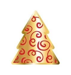 Gold and red christmas tree icon vector