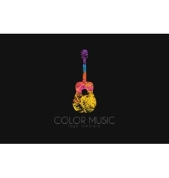 Guitar Colorful logo Rainbow guitar music logo vector image vector image