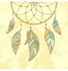 Hand drawn Dreamcatcher on textured paper vector image vector image