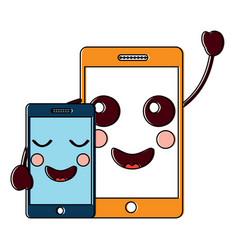 Happy smartphone pair hand in hand cartoon kawaii vector