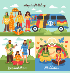 Hippie design concept set vector