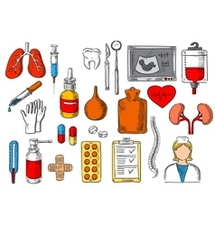 Medical items and medicines sketch icons vector image vector image