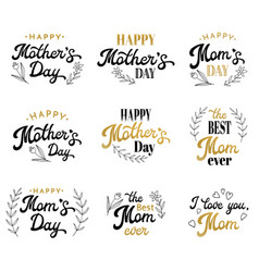 mothers day lettering inscriptions with badges vector image vector image