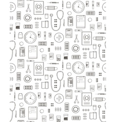 Outlined medical symbols and icons seamless vector
