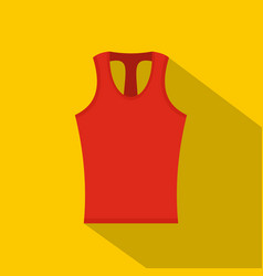 Red sleeveless shirt icon flat style vector