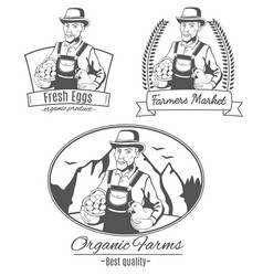 set of logo with farmer vector image