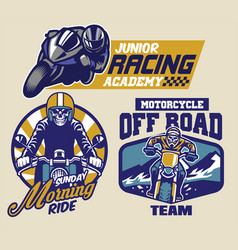 set of motorcycle badges vector image vector image