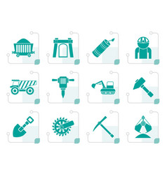 stylized mining and quarrying industry objects vector image vector image