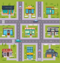 Suburb street cafe map seamless vector