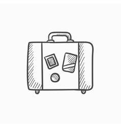 Suitcase sketch icon vector