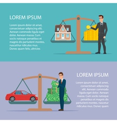 Save money for car and home asset property by vector