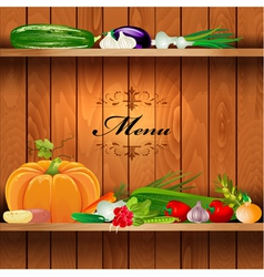 Vegetables shelf menu vector