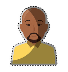 Sticker colorful half body brunette bald man with vector