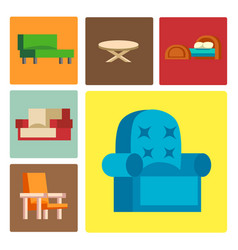 Furniture icons isolated vector