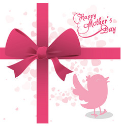 Happy mothers day bird ribbon bow decoration vector