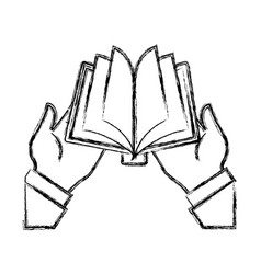 Hands holding a book vector