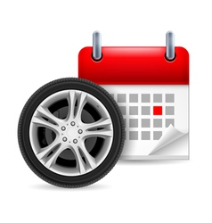 Car tire and calendar vector