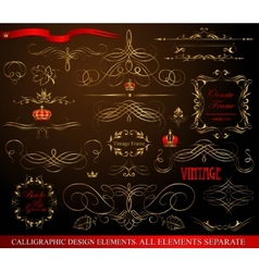Calligraphic design elements gold on black vector image