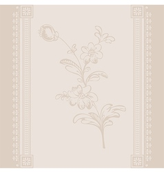 Border vintage flower beige vector