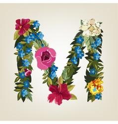 M letter flower capital alphabet colorful font vector