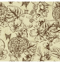 Vintage monochrome seamless background tropical vector