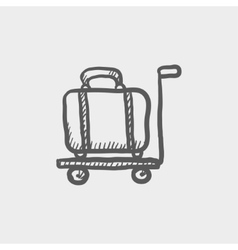 Luggage on a trolley sketch icon vector
