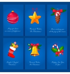 Holiday cards with christmas balls and toys vector