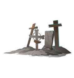 Graves with crosses on a white background vector