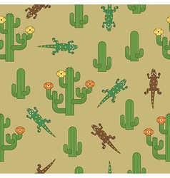 Cactus and lizards pattern vector