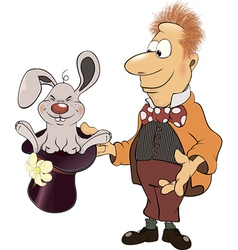 a magician and a rabbit cartoon vector image