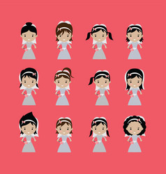 Adorable bride lovely marriage cartoon theme vector