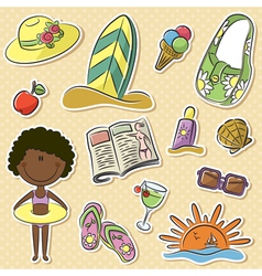 African-american girl with summer vacation objects vector