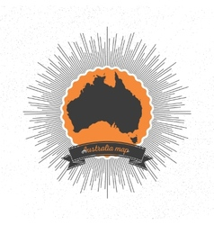 Australia map with vintage style star burst retro vector image vector image