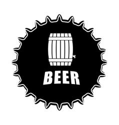 black beer cap emblem icon image vector image