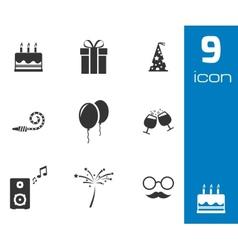 black birthday icons set vector image