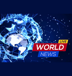 Breaking news banner on blue glowing background vector