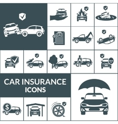 Car insurance icons black vector