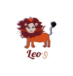 Cartoon cute fire leo sign on white background vector