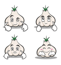 Collection garlic cartoon character set vector