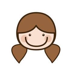 Color silhouette cartoon front face woman with vector