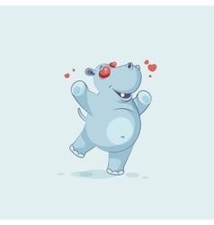 Emoji character cartoon hippopotamus in love vector