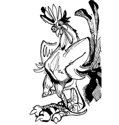Funny hand drawn cock standing with arms akimbo vector image vector image