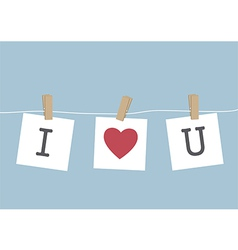 I Love You hanging on wire vector image
