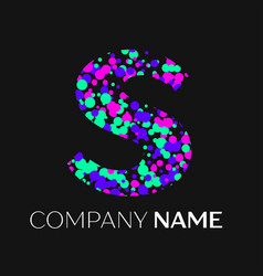 letter s logo with pink purple green particles vector image