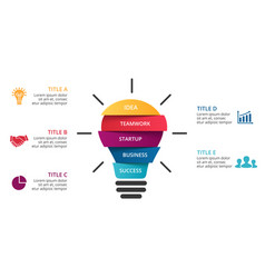 Light bulb infographic template for circle vector