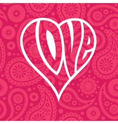 Love heart on seamless paisley background vector image vector image