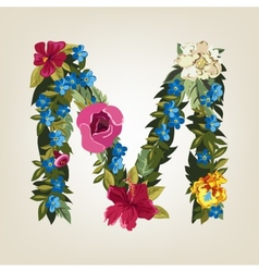 M letter flower capital alphabet colorful font vector
