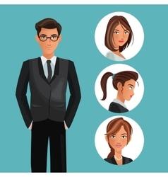 Man elegant employee office women icons vector