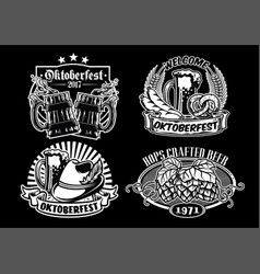 oktoberfes badge design collection in black and vector image vector image