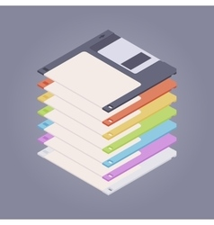 Pile of the colored floppy disks diskettes vector